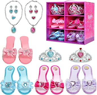 Hapgo Princess Dress Up Role Play Shoes and Jewelry Fashion Beauty Gift Set, Includes 4 Pairs Shoes 2 Tiaras 2 Necklaces and Earrings for Toddler Girls Birthday Party Halloween Cosplay Costumes