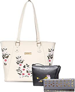 SHINING BIRD PU Leather Handbags For Women's Ladies Combo Of 3pcs Purse Set