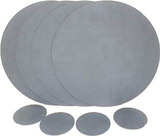 Nikalaz Set of Round Placemats and Coasters, 4 Table Mats and 4 Coasters, Place mats 12.99 inches Dining Table Set (Dirty Grey)