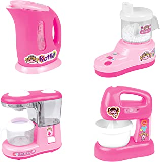 PowerTRC Kitchen Appliance Playset for Kids, Kettle, Juicer, Coffee Maker, Mixer, Kitchen Accessories