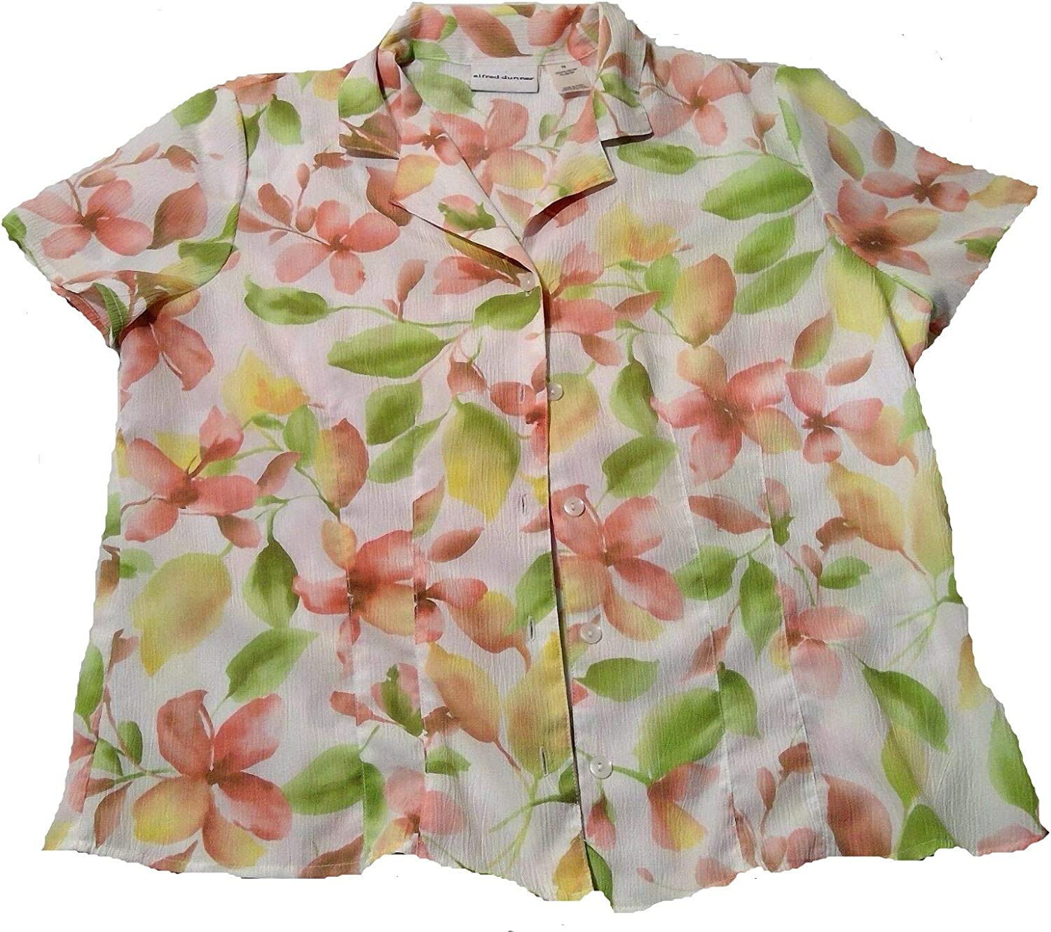 Alfred Dunner New Primrose Garden Multi Floral Button Down Blouse Size 16