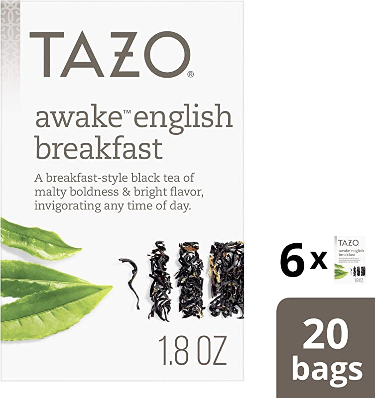 Tazo Awake English Breakfast Tea Bags For A Bold And Delightful Traditional Breakfast Style Black Tea Black Tea High Caffeine Level 20 Count Pack Of 6