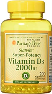 Vitamin D3 2,000 IU Bolsters Immune Health by Puritan's Pride for Support of Immune Health and Healthy Bones and Teeth 200...