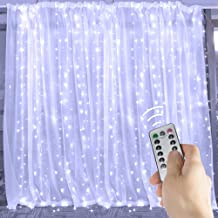Brightown 9.8 Ft Window Curtain Icicle Lights with Remote & Timer, 300-LED Fairy Twinkle String Lights with 8 Modes Fits for Bedroom Wedding Party Backdrop Outdoor Indoor Wall Decoration, Pure White