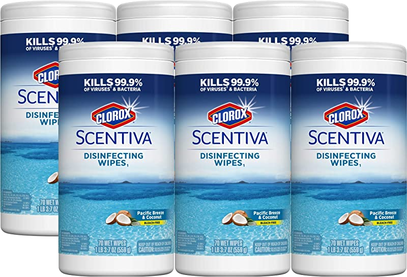 Clorox Scentiva Disinfecting Wipes Pacific Breeze And Coconut 70 Wipes 6 Canisters Case 31767