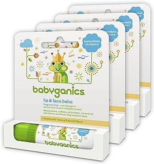 Babyganics Organic Lip and Face Balm, Fragrance Free, 0.25oz Stick (Pack of 4)