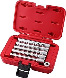 Kauplus 6PCS 3/8-Inch Drive Deep Metric Socket Set 6PT 8-10-11-12-14MM W 1/4-Inch Adapter- Extra Long Deep 120MM