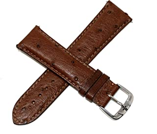 Jacques Lemans 23MM Brown Genuine Ostrich Leather Skin Watch Strap Band with Silver Tone JL Initial Stainless Steel Buckle