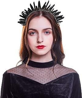 Raw Crystal Quartz Crown Headband - HAIMEIKANG Handmade Tiara Natural Stone Headband for Woman Wedding and Parties