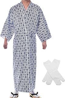 Japanese Casual Kimono Traditional Easy Wearing Cotton Yukata Robe for Men with Belt and tabi Socks