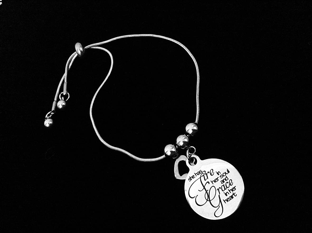 She Has Fire In Her Soul and Grace in Her Heart Bolo Bracelet Stainless Steel Adjustable Bracelet Gift Message Charm Bracelet One Size Fits All