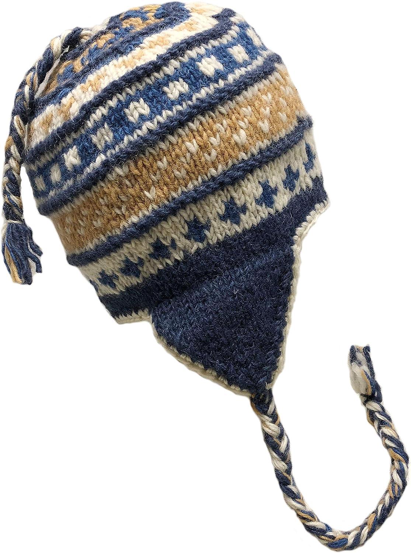 Trapper Ski Heavy Wool Fleeced Lined Cap Nepal Hand Knit Sherpa Hat with Ear Flaps