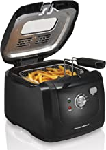 Hamilton Beach 35021 Cool-Touch Deep Fryer, 8 Cups / 2 Liters Oil Capacity, Lid with View Window, Basket with Hooks, Electric, 1500 Watts, Black