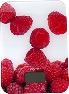 Beurer KS1970405 Glass Kitchen Scale, Metric/Imperial, Berry Design, White/Red, 4cm x 18.5cm x 24cm