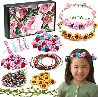 Golray Flower Crowns Making Kit Creativity Art Craft Kit DIY Garden Outdoor Activities Jewelry Making Kit for Kids Age 4 5...