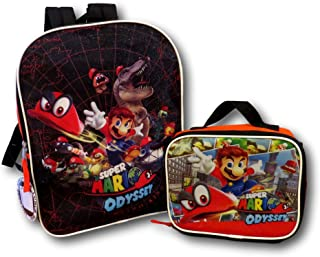 Supper Mario Odyssey School Backpack Lunch Box Combo Set Green Kids New