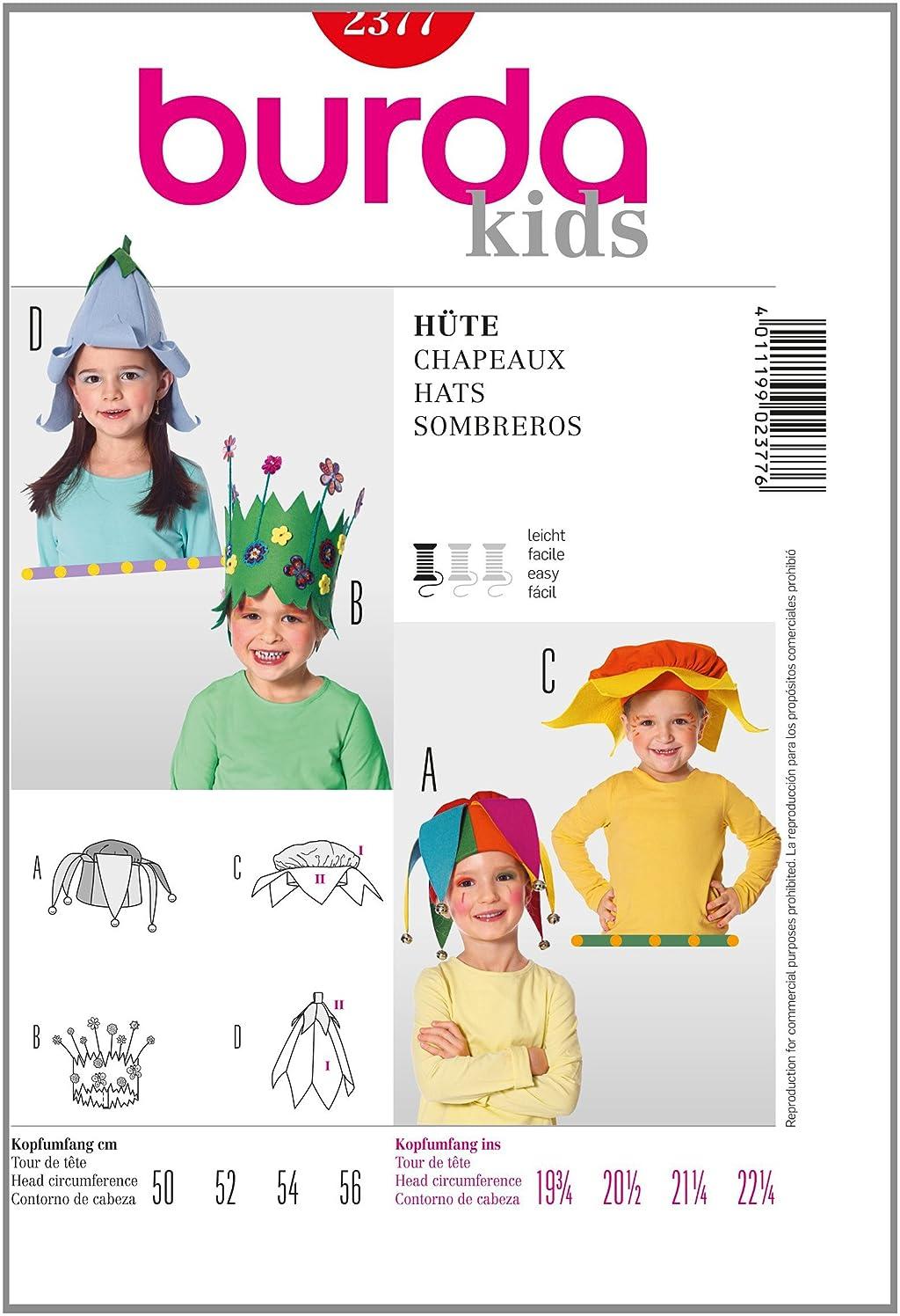 Burda Cutting Patterns Carnival Caps F? R Kids Head Circumference 50 cm, 52 cm, 54 cm, 56 cm