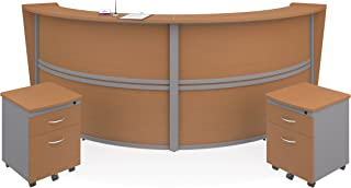 OFM Marque Series Double-Unit Curved Reception Station, Walnut