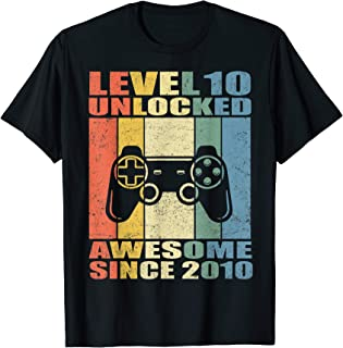 Level 10 Unlocked Awesome 2010 Video Game 10th Birthday Gift T-Shirt