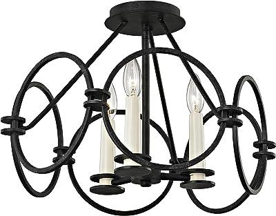 Industrial Ceiling Light E26 E27 Vintage Globe Caged Semi Flush