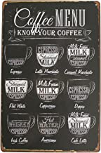 Coffee Menu Know Your Coffee Latte Espresso Metal Tin Sign, Vintage Antique Plaque Poster Kitchen Home Cafe Wall Decor