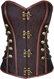 Women's Spiral Steel Boned Steampunk Gothic Bustier Corset with Chains