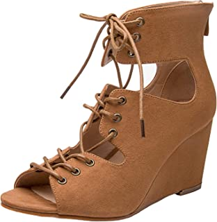 Luoika Women's Wide Width Wedge Sandals - Lace up Open Toe Suede Summer Shoes.