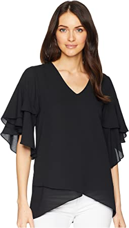 Ruffle Sleeve Asymmetric Top