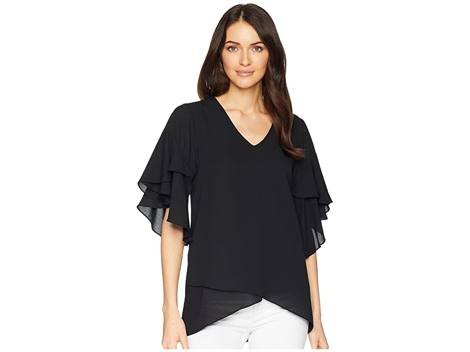 Karen Kane Ruffle Sleeve Asymmetric Top (Black) Women