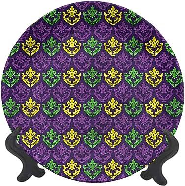 LCGGDB 7 Inch Mardi Gras Pattern Ceramic Hanging Decorative Plate,Antique Motifs Tile Tableware Plate Ceramic Ornament for Ho