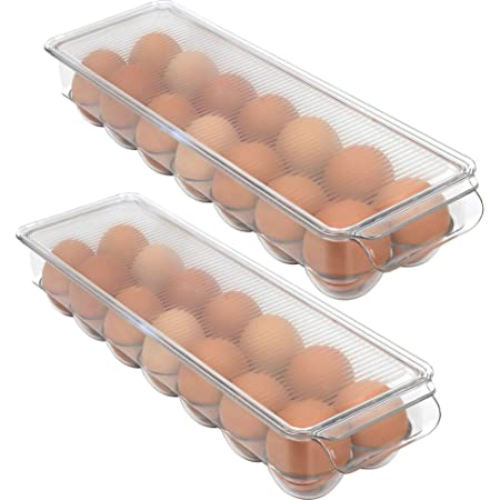Greenco Stackable Refrigerator Storage Bin With Lid, Stores 14 Eggs, Clear-2 Pack, Medium