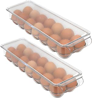 24 Grid Egg Storage Box STRAWBLEAG Drawer Type Large Capacity Clear Egg Holders Double Layer Design with Side Vent Egg Container Case for Refrigerator