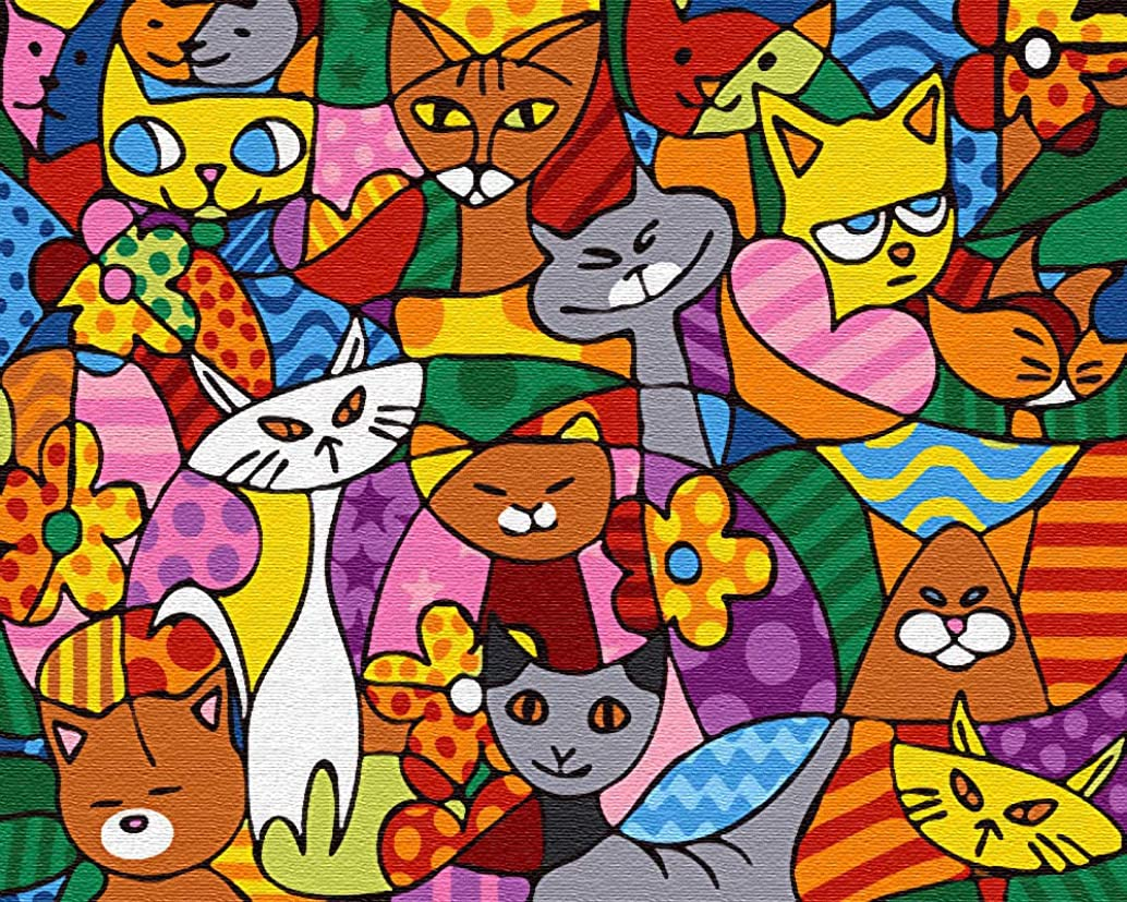 "iCoostor Paint by Numbers DIY Acrylic Painting Kit for Kids & Adults Beginner – 16"" x 20"" Cat Group Pattern"