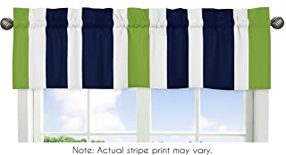 Sweet Jojo Designs Navy Blue White and Lime Green Window Treatment Valance for Stripes Bedding Collection