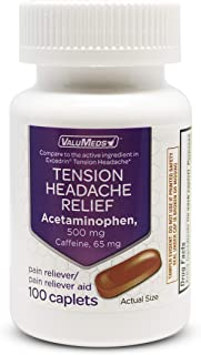 ValuMeds Tension Headache Relief with Acetaminophen 500mg, 100 Caplets, Aspirin Free with Caffeine, Relieve Head, Shoulder, and Neck Pain, Comparable to Excedrin