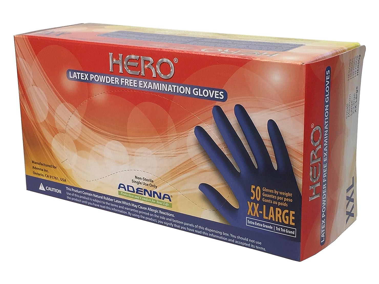 マークダウン国内の版(XX-Large) - Adenna Hero 14 mil Latex Powder Free Exam Gloves (Blue, XX-Large) Box of 50