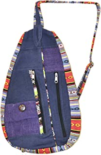 Mandala Crafts BOHO Hippie Sling Backpack Purse from Hemp for Women, Girls, and Men (Navy Blue)