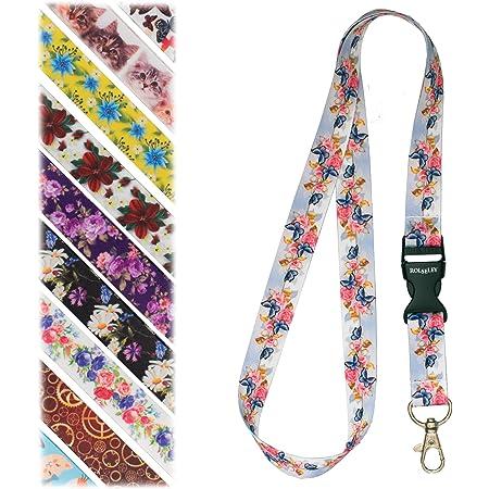 Rolseley Cordon pour badge avec mousqueton en métal - Différents motifs Butterflies & Roses