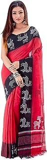 SareesofBengal Women's Bengal Khadi CottonSaree Jamdani Dhakai Sari Tangail Tant Handloom Red
