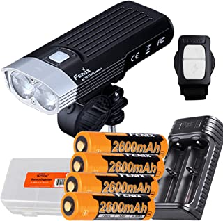 Fenix BC30 v2 2200 Lumen Dual Beam Bicycle Light with Wireless Remote, Four 2600mAh Rechargeable Batteries, Dual Slot Char...