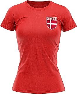 Denmark Football Shirt Women - Retro Denmark Flag Badge T Shirt - Football Country European Supporters 2020 Tee Her - Dani...