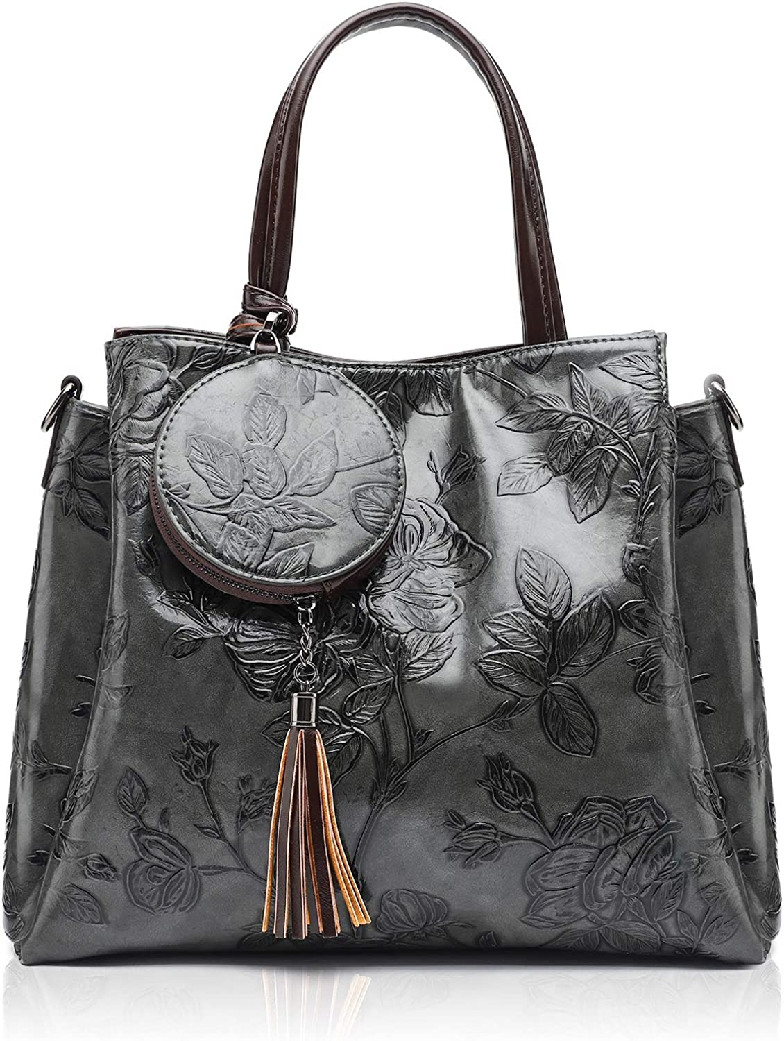 OFFicial shop MEITRUE Women Selling and selling Satchel Handbags and Purses Foral Shoulde Embossed