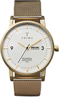 Triwa Unisex-Adult Quartz Klinga Watch analog Display and Gold Plated Strap, KLST103-ME021313