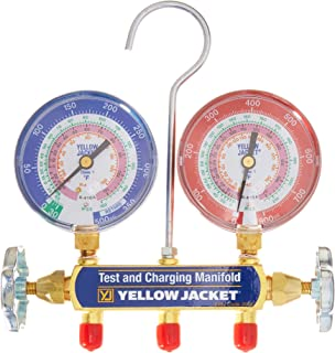"Yellow Jacket 42001 Manifold with 3-1/8"" Color-Coded Gauges, psi, R-22/404A/410A (Clamshell)"