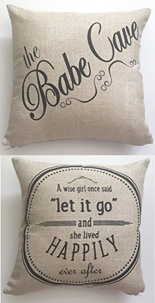 Motivational Babecave BABE CAVE Let It Go Linen Throw Pillow Babe Cave Babecave Teen Girl Pillow Girls Room Pillow Girls Sign Motivational Quote For Girls Teen Bedding Dorm Pillow Sorority Pillow