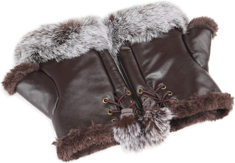Fur Story Women's Faux Fur Winter Fingerless Gloves Lined Mittens Warm Wrist Hands Warmer