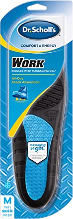 Dr. Scholl's WORK Massaging Gel Insoles (Men's 8-14, Women's 6-10) // All-Day Shock Absorption and Cushioning for Hard Surfaces