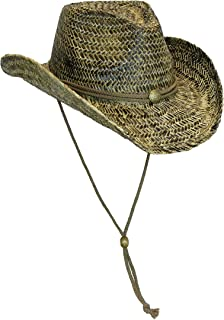 59067f5a1116f Black Stained Seagrass Western Cowboy Hat with Shapeable Brim and Chin Strap