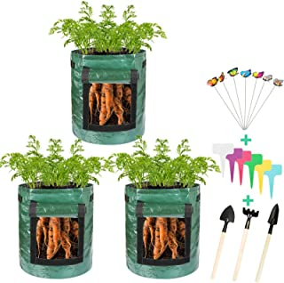 Thten 3 Pack Potato Grow Bags, Plant Grow Bags 7 Gallon Heavy Duty Thickened Growing Bags Planting Pots Container Garden V...