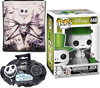 SnowJack NBC #448 Snow Jack Vinyl Snowman Nightmare Before Christmas Pop! Bundled with Jack Skellington Tote Bag Reusable + Mini Blind Bag Soft Character 3 Halloweentown Items